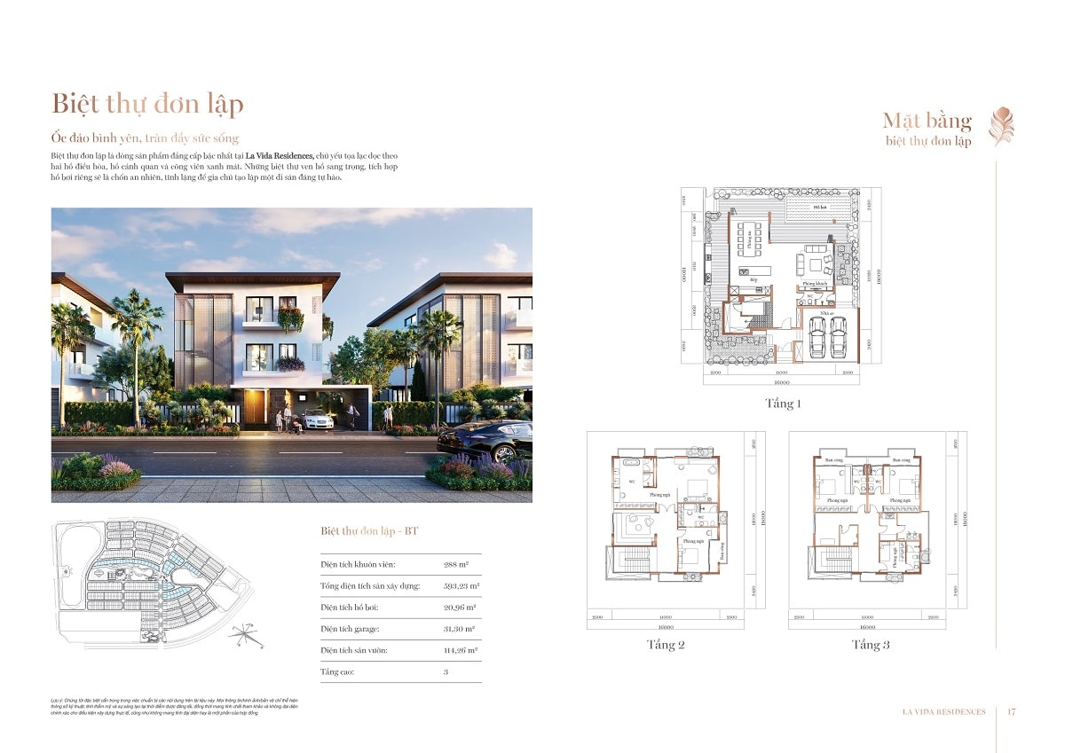 thiết kế biệt thự đơn lập la vida residence